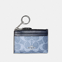 COACH 93680 - MINI SKINNY ID CASE IN SIGNATURE CANVAS SV/LIGHT DENIM