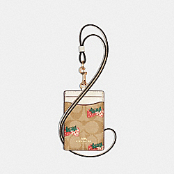 COACH 93727 Id Lanyard In Signature Canvas With Strawberry Print IM/KHAKI MULTI