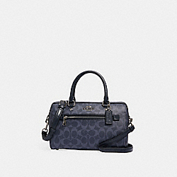 ROWAN SATCHEL IN SIGNATURE CANVAS - 93987 - SV/DENIM MIDNIGHT