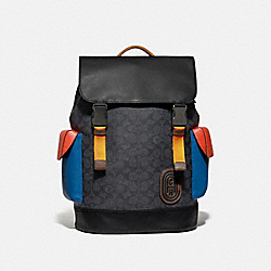 RIVINGTON BACKPACK IN COLORBLOCK SIGNATURE CANVAS WITH COACH PATCH - 961 - JI/CHARCOAL MULTI