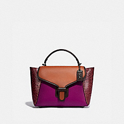 COACH 99313 Courier Carryall With Snakeskin Detail PEWTER/HIBISCUS MULTI
