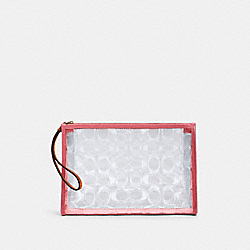 COACH 99430 - BEACH CLUTCH IN SIGNATURE CLEAR CANVAS IM/CLEAR/ PINK LEMONADE
