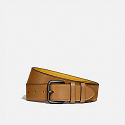 COACH 99434 Roller Buckle Belt, 38mm LIGHT TOFFEE/FLAX