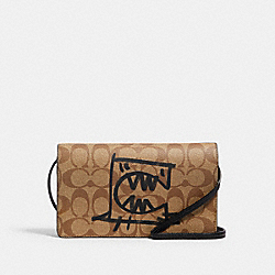 ANNA FOLDOVER CROSSBODY CLUTCH IN SIGNATURE CANVAS WITH REXY BY GUANG YU - 99445 - QB/KHAKI BLACK MULTI