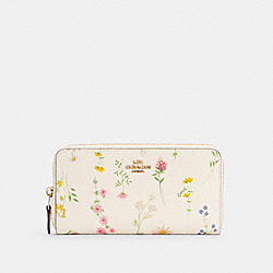 COACH C0033 Accordion Zip Wallet With Spaced Wildflower Print IM/CHALK MULTI