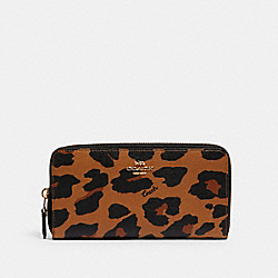 COACH C0034 - ACCORDION ZIP WALLET WITH LEOPARD PRINT IM/LIGHT SADDLE