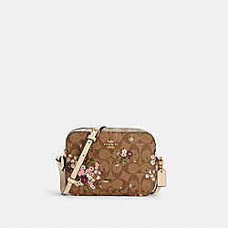 MINI CAMERA BAG IN SIGNATURE CANVAS WITH EVERGREEN FLORAL PRINT - IM/KHAKI MULTI - COACH C0037