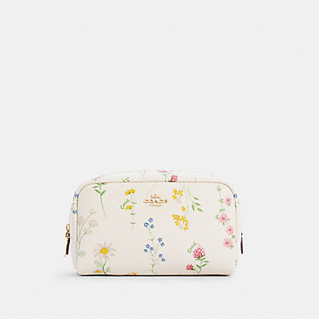 COACH C0039 SMALL BOXY COSMETIC CASE WITH SPACED WILDFLOWER PRINT IM/CHALK-MULTI