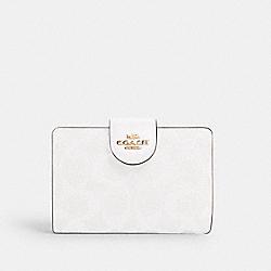 COACH C0082 Medium Corner Zip Wallet In Signature Canvas IM/CHALK/GLACIERWHITE