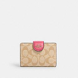 COACH C0082 Medium Corner Zip Wallet In Signature Canvas IM/LIGHT KHAKI/CONFETTI PINK