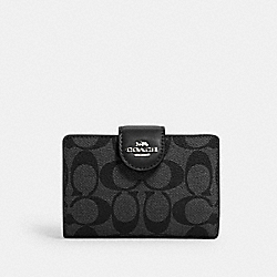 COACH C0082 - MEDIUM CORNER ZIP WALLET IN SIGNATURE CANVAS SV/BLACK SMOKE BLACK