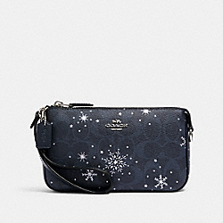 COACH C0091 Nolita 19 In Signature Canvas With Snowflake Print SV/MIDNIGHT MULTI