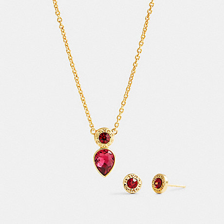 COACH C0149 OPEN CIRCLE NECKLACE AND PEAR EARRINGS SET GD/RED
