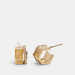 TRI COLOR HUGGIE EARRINGS - GOLD - COACH C0214