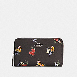 COACH C0215 Medium Id Zip Wallet With Wildflower Print SV/BLACK MULTI