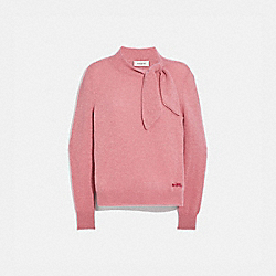 COACH C0444 Horse And Carriage Tie Neck Sweater PINK