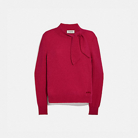 COACH C0444 HORSE AND CARRIAGE TIE NECK SWEATER RED.