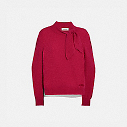 COACH C0444 - HORSE AND CARRIAGE TIE NECK SWEATER RED.