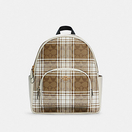 COACH C0554 COURT BACKPACK IN SIGNATURE CANVAS WITH HUNTING FISHING PLAID PRINT IM/KHAKI CHALK MULTI