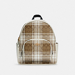 COURT BACKPACK IN SIGNATURE CANVAS WITH HUNTING FISHING PLAID PRINT - C0554 - IM/KHAKI CHALK MULTI