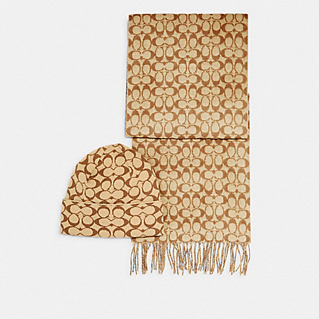 COACH C0647 SIGNATURE SCARF AND HAT SET KHAKI SIGNATURE