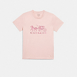 HORSE AND CARRIAGE T-SHIRT - C0682 - PINK