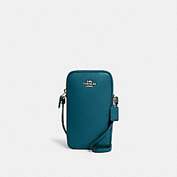 COACH C0736 - NORTH/SOUTH ZIP CROSSBODY IM/TEAL INK