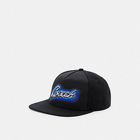 COACH C0977 AIRBRUSH FLAT BRIM HAT BLACK