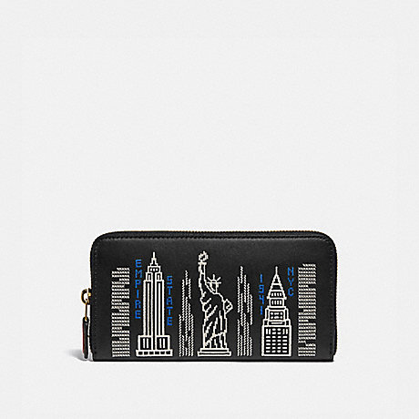 COACH ACCORDION ZIP WALLET WITH STARDUST CITY SKYLINE EMBROIDERY - B4/BLACK - C1106