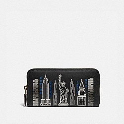 ACCORDION ZIP WALLET WITH STARDUST CITY SKYLINE EMBROIDERY - C1106 - B4/BLACK