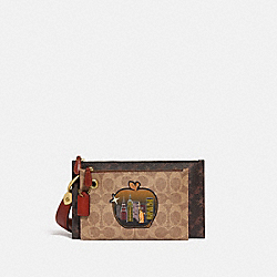 COACH C1112 Double Slim Wristlet In Signature Canvas With Horse And Carriage Print And Big Apple Skyline B4/TAN TRUFFLE MULTI