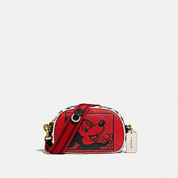 DISNEY MICKEY MOUSE X KEITH HARING BADGE CAMERA CROSSBODY - B4/ELECTRIC RED MULTI - COACH C1141
