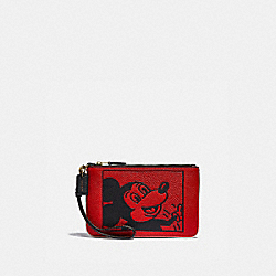 COACH C1174 Disney Mickey Mouse X Keith Haring Small Wristlet B4/ELECTRIC RED