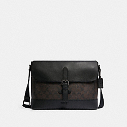 COACH C1243 Hudson Messenger In Signature Canvas QB/MAHOGANY/BLACK
