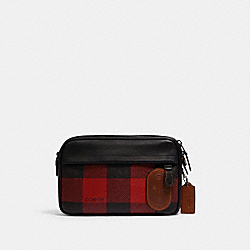 COACH C1245 - GRAHAM CROSSBODY WITH BUFFALO PLAID PRINT QB/BLACK RED