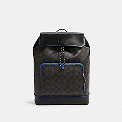 TURNER BACKPACK IN SIGNATURE CANVAS - C1281 - QB/BLACK SPORT BLUE