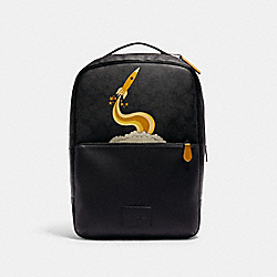 COACH C1290 - WESTWAY BACKPACK IN SIGNATURE CANVAS WITH TRIUMPH MOTIF QB/BLACK DARK MUSTARD