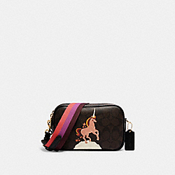 COACH C1303 - JES CROSSBODY 20 IN SIGNATURE CANVAS WITH UNICORN IM/BROWN BLACK MULTI