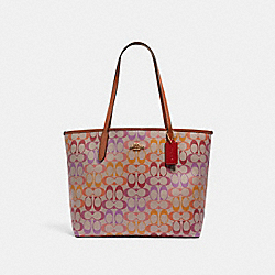 COACH C1316 City Tote In Rainbow Signature Canvas IM/KHAKI MULTI REDWOOD