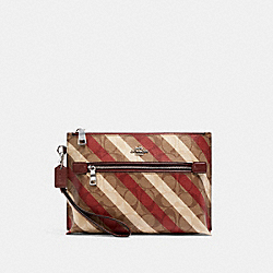 COACH C1393 Rowan Pouch In Signature Canvas With Diagonal Stripe Print SV/KHAKI MULTI