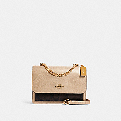 KLARE CROSSBODY IN SIGNATURE CANVAS - C1425 - IM/BROWN/METALLIC PALE GOLD