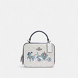 DISNEY X COACH BOX CROSSBODY IN SIGNATURE CANVAS WITH CINDERELLA - C1426 - SV/CHALK/GLACIER WHITE MULTI