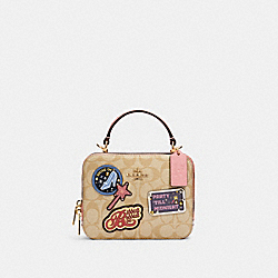 DISNEY X COACH BOX CROSSBODY IN SIGNATURE CANVAS WITH PATCHES - IM/LIGHT KHAKI MULTI - COACH C1434