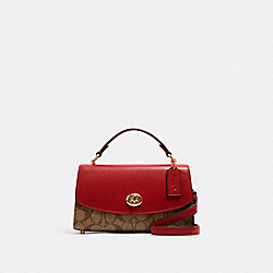 TILLY SATCHEL 23 IN SIGNATURE CANVAS - C1439 - IM/KHAKI/1941 RED