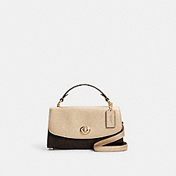 TILLY SATCHEL 23 IN SIGNATURE CANVAS - C1441 - IM/BROWN/METALLIC PALE GOLD