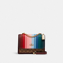 KLARE CROSSBODY WITH RAINBOW LINEAR QUILTING - C1446 - IM/KHAKI/CANDY PINK MULTI