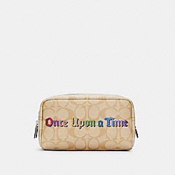 COACH C1479 - DISNEY X COACH SMALL BOXY COSMETIC CASE IN SIGNATURE CANVAS WITH ONCE UPON A TIME SV/KHAKI MULTI