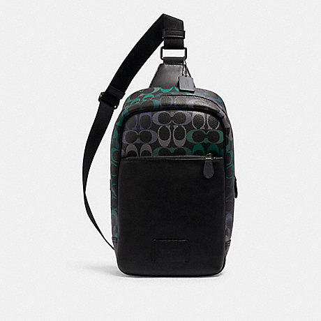 COACH C1486 WESTWAY PACK IN RAINBOW SIGNATURE CANVAS QB/GRAPHITE GREEN