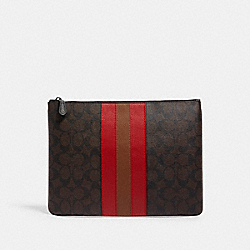 LARGE POUCH IN SIGNATURE CANVAS WITH VARSITY STRIPE - C1497 - QB/MAHOGANY MULTI