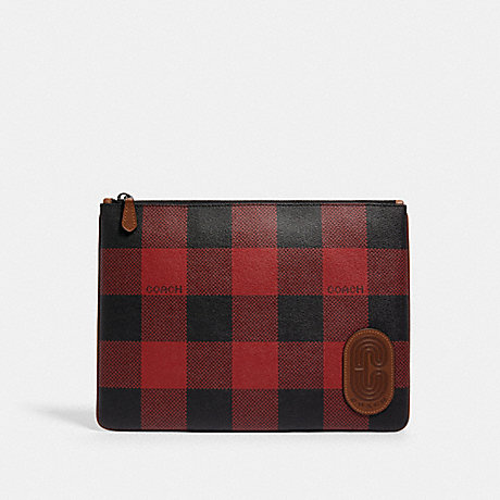 COACH LARGE POUCH WITH BUFFALO PLAID PRINT - QB/RED MULTI - C1498